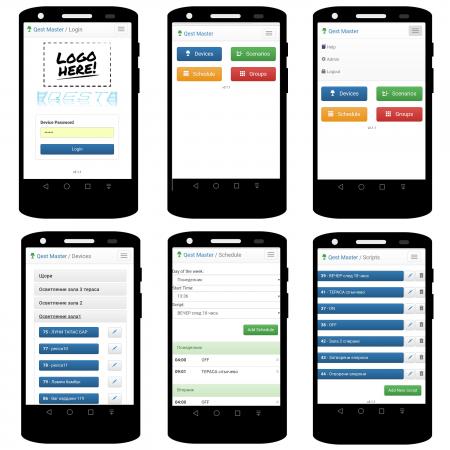 Екрани на софтуера QEST LC на смартфон